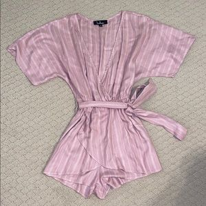 Lulus Pink and white stripe romper with tie